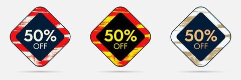 50 fuori dall'autoadesivo di sconto 50 fuori dall'insegna di prezzo di sconto e di vendita Fotografia Stock Libera da Diritti