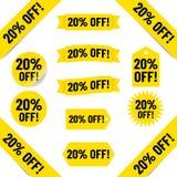 20% fuori dall'illustrazione dell'etichetta di vendite Fotografie Stock