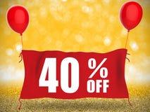 40% fuori dall'insegna Fotografia Stock