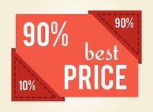 90 fuori dalla migliore illustrazione di vettore dell'etichetta di vendita di prezzi Immagini Stock