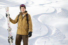 Fuori dallo sciatore di pista Fotografia Stock