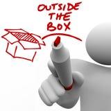 Fuori dell'uomo della scatola la scrittura esprime l'indicatore Immagini Stock