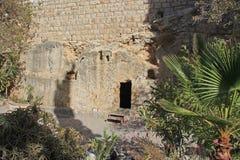 Fuori della tomba di Gesù fotografia stock