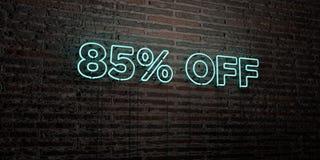 85% FUORI - insegna al neon realistica sul fondo del muro di mattoni - 3D ha reso l'immagine di riserva libera della sovranità Illustrazione di Stock