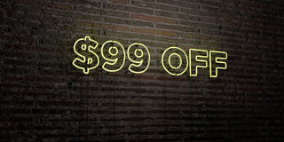 $99 FUORI - insegna al neon realistica sul fondo del muro di mattoni - 3D hanno reso l'immagine di riserva libera della sovranità Immagini Stock