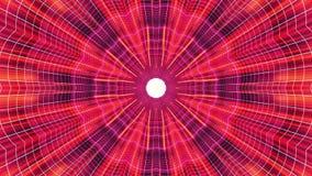 Fuori nel volo con VR fiorisca l'animazione cyber blu al neon dei grafici di moto dell'interfaccia di HUD del tunnel delle luci r illustrazione di stock