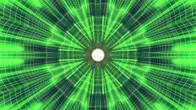 Fuori nel volo con VR fiorisca l'animazione cyber dei grafici di moto dell'interfaccia di HUD del tunnel delle luci verde BLU al  royalty illustrazione gratis