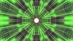 Fuori nel volo con VR fiorisca l'animazione cyber dei grafici di moto dell'interfaccia di HUD del tunnel delle luci verde PORPORA illustrazione di stock