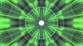 Fuori nel volo con VR fiorisca l'animazione cyber dei grafici di moto dell'interfaccia di HUD del tunnel delle luci verde PORPORA royalty illustrazione gratis