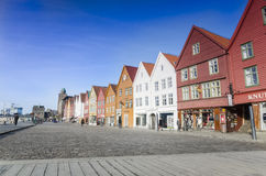 Fuori stagione a Bryggen, Bergen in Norvegia Fotografia Stock Libera da Diritti