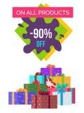 90 fuori su tutto il manifesto di promo dei prodotti con i regali Fotografie Stock Libere da Diritti