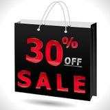 30% fuori, uno sconto di 30 vendite, 30 fuori da testo con il sacchetto della spesa illustrazione vettoriale