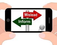 Fuorvii informano le esposizioni del cartello ingannevoli o Advic informativo illustrazione vettoriale