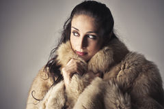 Fur. Beautiful woman wearing a fur Stock Images
