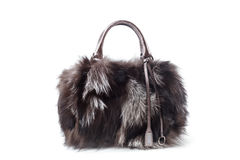 Fur bag. Isolated on white background stock photo