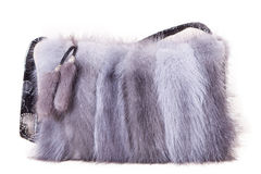 Fur bag. Isolated on white background gray womens bag with fur on white Stock Images
