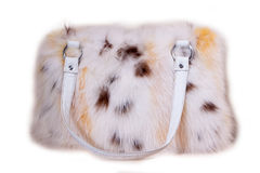 Fur bag isolated on white background Royalty Free Stock Images