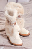 Fur boots for cold weather winter Royalty Free Stock Photos