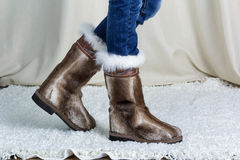 Fur boots side view stock images