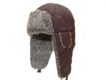 Fur cap. Winter fur cap on a white background Royalty Free Stock Image
