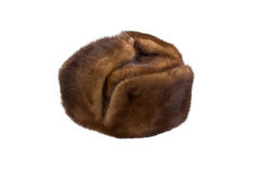 Fur cap. Male brown fur cap isolated over white Stock Photography