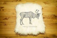 Fur carpet on wood floor Royalty Free Stock Photo