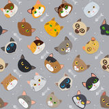 Fur cats pattern vector background. Fur cute different color cats pattern vector background royalty free illustration