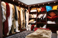 Fur closet. Fur and fake fur department on trade exibition Royalty Free Stock Photography