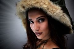 Fur Clothing, Beauty, Fur, Model stock image