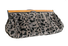 Fur clutch isolated on white. Background Stock Photo