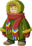 Fur coat. A boy in a fur coat, vector vector illustration