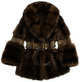 Fur coat brown with a belt Stock Photo