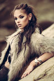 Fur coat and flash tattoos Stock Photos