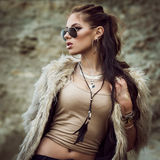 Fur coat and flash tattoos royalty free stock photography