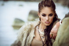 Fur coat and flash tattoos Royalty Free Stock Images