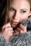 Fur Coat Girl. Beautiful girl wearing fur coat Royalty Free Stock Photos