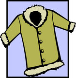 Fur coat or winter jacket. Vector file available. Illustration of a fur coat or winter jacket clothing and apparel. Vector file available in EPS format Stock Images