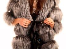 Fur coat on woman stock photos