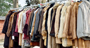 Fur coats. On a flea market royalty free stock photo