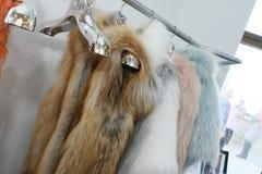 Fur coats on rack during Helen Yarmak presentation during MBFW Fall 2015 Stock Photos