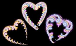 Fur Color Hearts Vector Illustrations. Three Fur Color Hearts. Vector Illustrations Stock Images