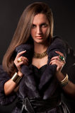 Fur & fashion. Beautiful woman in fur coat with golden accessories Stock Photos