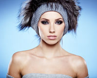 Fur Fashion. Beautiful Girl in Fur Hat. Stock Photography