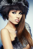 Fur Fashion. Beautiful Girl in Fur Hat. Stock Image
