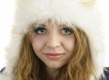Fur Fashion Hat. Beautiful Girl in Furry Hat. Winter Woman Portr Stock Images