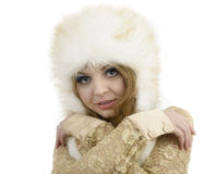 Fur Fashion Hat. Beautiful Girl in Furry Hat. Winter Woman Portr Stock Photos