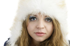 Fur Fashion Hat. Beautiful Girl in Furry Hat. Winter Woman Portr Royalty Free Stock Photos