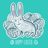 Fur fluffy cute bunny for Easter. Cartoon rabbit. Vector illustration. Greeting card design royalty free stock photos