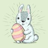Fur fluffy cute bunny for Easter. Cartoon rabbit. Vector illustration. Greeting card design stock image