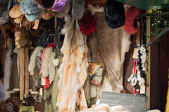 Fur and fur stall at the Christmas Market Stock Photography